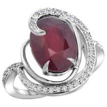 Natural 5.73 ctw ruby & Diamond Engagement Ring 14K White Gold - SC#R289231W14 - REF#W59N5