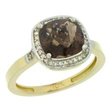 Natural 3.94 ctw Smoky-topaz & Diamond Engagement Ring 10K Yellow Gold - SC-CY907151-REF#29F2N