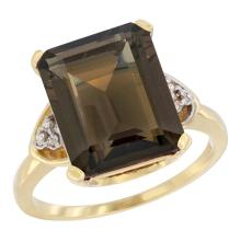 Natural 5.44 ctw smoky-topaz & Diamond Engagement Ring 14K Yellow Gold - SC-CY407177-REF#45N5G