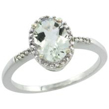 Natural 1.2 ctw Green-amethyst & Diamond Engagement Ring 10K White Gold - SC-CW902113-REF#16R9Z