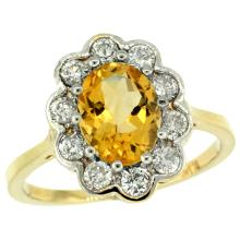 Natural 2.34 ctw Citrine & Diamond Engagement Ring 14K Yellow Gold - SC-C319661Y09-REF#81K4R