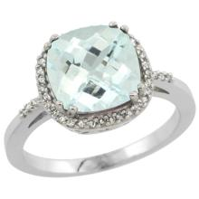 Natural 3.11 ctw Aquamarine & Diamond Engagement Ring 10K White Gold - SC-CW912121-REF#51A3V