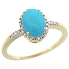 Natural 1.2 ctw Turquoise & Diamond Engagement Ring 14K Yellow Gold - SC-CY418113-REF#24F8N