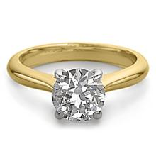14K 2Tone Gold Jewelry 1.50 ctw Natural Diamond Solitaire Ring - WJA1321 - REF#483W7Z