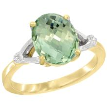 Natural 2.41 ctw Green-amethyst & Diamond Engagement Ring 10K Yellow Gold - SC-CY902112-REF#24G6M
