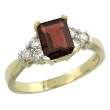 Natural 1.48 ctw garnet & Diamond Engagement Ring 10K Yellow Gold - SC-CY910169-REF#43G3M