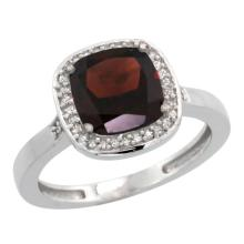 Natural 3.94 ctw Garnet & Diamond Engagement Ring 14K White Gold - SC-CW410151-REF#39Z7Y