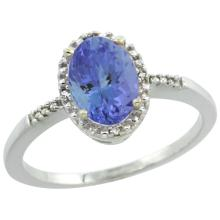 Natural 1.33 ctw Tanzanite & Diamond Engagement Ring 14K White Gold - SC-CW448113-REF#45V8F