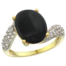 Natural 2.46 ctw onyx & Diamond Engagement Ring 14K Yellow Gold - SC-R293431Y17-REF#47G4M