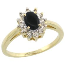 Natural 0.67 ctw Onyx & Diamond Engagement Ring 14K Yellow Gold - WSC#CY417103