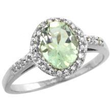 Natural 1.3 ctw Green-amethyst & Diamond Engagement Ring 10K White Gold - WSC#CW902137