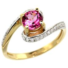 Natural 1.24 ctw pink-topaz & Diamond Engagement Ring 14K Yellow Gold - WSC#D312723Y06