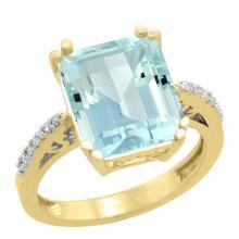 Natural 5.48 ctw Aquamarine & Diamond Engagement Ring 10K Yellow Gold - WSC#CY912141