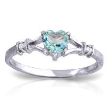 Genuine 0.47 ctw Blue Topaz & Diamond Ring Jewelry 14KT White Gold  - WGG#1277