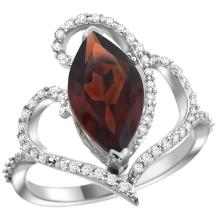 Natural 3.33 ctw Garnet & Diamond Engagement Ring 14K White Gold - WSC#R275571W10
