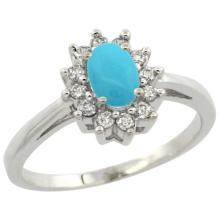 Natural 0.67 ctw Turquoise & Diamond Engagement Ring 10K White Gold - WSC#CW918103