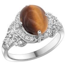 Natural 2.82 ctw tiger-eye & Diamond Engagement Ring 14K White Gold - WSC#R183071W24
