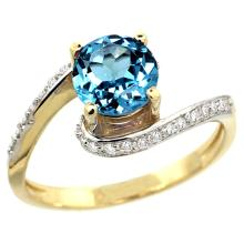 Natural 1.24 ctw swiss-blue-topaz & Diamond Engagement Ring 10K Yellow Gold - WSC#10D312723Y04