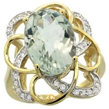 Natural 5.59 ctw green-amethyst & Diamond Engagement Ring 14K Yellow Gold - WSC#R297191Y02