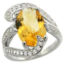 Natural 6.22 ctw citrine & Diamond Engagement Ring 14K White Gold - WSC#R308101W09