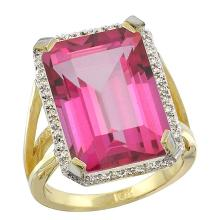 Natural 13.72 ctw Pink-topaz & Diamond Engagement Ring 10K Yellow Gold - WSC#CY906140