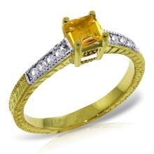 Genuine 0.65 ctw Citrine & Diamond Ring Jewelry 14KT Yellow Gold  - WGG#3050