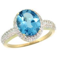 Natural 2.56 ctw Swiss-blue-topaz & Diamond Engagement Ring 14K Yellow Gold - WSC#CY404138