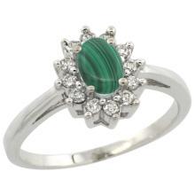 Natural 0.67 ctw Malachite & Diamond Engagement Ring 10K White Gold - WSC#CW947103