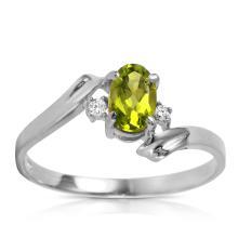 Genuine 0.46 ctw Peridot & Diamond Ring Jewelry 14KT White Gold  - WGG#1217
