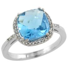 Natural 4.11 ctw Swiss-blue-topaz & Diamond Engagement Ring 14K White Gold - WSC#CW404121