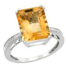 Natural 5.42 ctw Citrine & Diamond Engagement Ring 14K White Gold - WSC#CW409149
