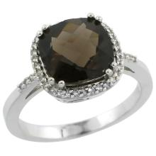 Natural 4.11 ctw Smoky-topaz & Diamond Engagement Ring 10K White Gold - WSC#CW907121