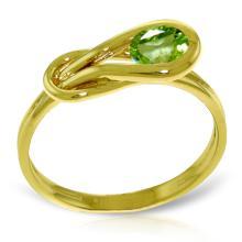 Genuine 0.65 ctw Peridot Ring Jewelry 14KT Yellow Gold  - WGG#4214