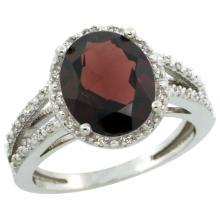 Natural 3.47 ctw Garnet & Diamond Engagement Ring 10K White Gold - WSC#CW910106