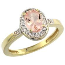 Natural 0.75 ctw Morganite & Diamond Engagement Ring 10K Yellow Gold - WSC#CY913150