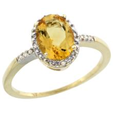 Natural 1.2 ctw Citrine & Diamond Engagement Ring 10K Yellow Gold - WSC#CY909113