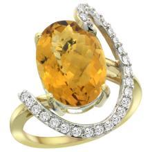 Natural 5.89 ctw Quartz & Diamond Engagement Ring 14K Yellow Gold - WSC#R287971Y26