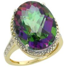 Natural 13.6 ctw Mystic-topaz & Diamond Engagement Ring 14K Yellow Gold - WSC#CY408108