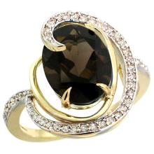 Natural 6.53 ctw smoky-topaz & Diamond Engagement Ring 14K Yellow Gold - WSC#R289231Y07