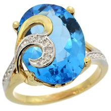 Natural 11.18 ctw swiss-blue-topaz & Diamond Engagement Ring 14K Yellow Gold - WSC#R292651Y04