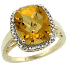 Natural 5.28 ctw Whisky-quartz & Diamond Engagement Ring 14K Yellow Gold - WSC#CY426124