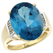 Natural 11.02 ctw London-blue-topaz & Diamond Engagement Ring 10K Yellow Gold - WSC#CY905131
