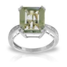 Genuine 5.62 ctw Green Amethyst & Diamond Ring Jewelry 14KT White Gold  - WGG#5118