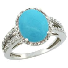 Natural 3.47 ctw Turquoise & Diamond Engagement Ring 14K White Gold - WSC#CW418106