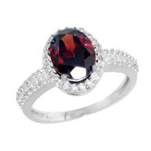 Natural 1.91 ctw Garnet & Diamond Engagement Ring 14K White Gold - WSC#CW410139