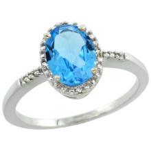 Natural 1.2 ctw Swiss-blue-topaz & Diamond Engagement Ring 14K White Gold - WSC#CW404113