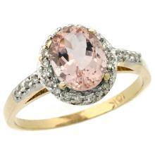 Natural 1.24 ctw Morganite & Diamond Engagement Ring 10K Yellow Gold - WSC#CY913137