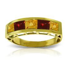 Genuine 2.25 ctw Citrine & Garnet Ring Jewelry 14KT Yellow Gold  - WGG#3545