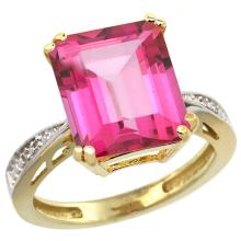 Natural 5.42 ctw Pink-topaz & Diamond Engagement Ring 10K Yellow Gold - WSC#CY906149