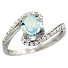 Natural 0.99 ctw aquamarine & Diamond Engagement Ring 10K White Gold - WSC#10D312723W12